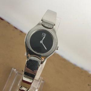 Vintage ESQ Movado Swiss Black on Silver Watch